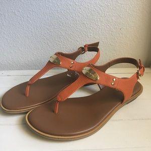 Michael Kors Logo Plate Leather Sandals
